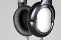 Headphones photo of black audio close up Stock Photo