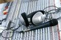 Headphones on sound mixer Royalty Free Stock Photo