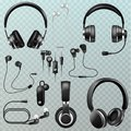 Headphones vector headset and earphones stereo technology and audio dj equipment illustration set of realistic headgear
