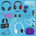 Headphones vector illustration headset to listen to music for dj and audio earphone devices illustration stereo headgear