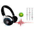 Headphones on white background music Royalty Free Stock Images