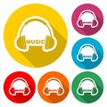 Headphones and Word Music icon, color icon with long shadow