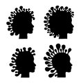 Heads abstract silhouette of head with exceptional haircut Royalty Free Stock Photo