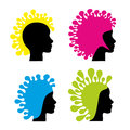 Heads abstract silhouette of head with exceptional haircut Royalty Free Stock Photos