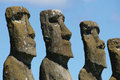 Heads of Ahu Akivi, Easter Isl Royalty Free Stock Images
