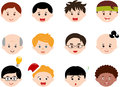 Heads of Boys, Men, Kids (Male) Different ethnics Stock Images