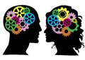 Heads with colored gears