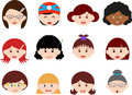 Heads of Girls, Women, Kids (Female Set) Different Stock Photography