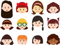 Heads of Girls, Women, Kids (Female Set) Different Royalty Free Stock Photo