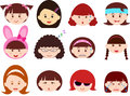Heads of Girls, Women, Kids (Female Set) Different Stock Image