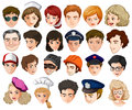Heads of a lot of people with different professions illustration the on white background Stock Photo