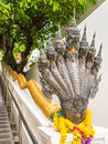Heads of naga in buddhist temple thailand Royalty Free Stock Photography