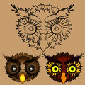 The heads of owls.
