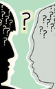 Heads with question mark profile views of human head marks Royalty Free Stock Photos