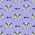 Heads of smiling cat and skeletons of fish. Funny seamless pattern. Vector illustration.