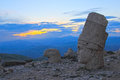 Heads of the statues on mount nemrut in turkey unesco sunset time Royalty Free Stock Images
