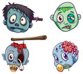 Heads of the zombies illustration on a white background Royalty Free Stock Photo