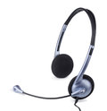 Headset blue with microphone on white Stock Images