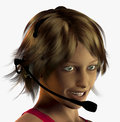Headset digital illustration of a woman with Stock Images