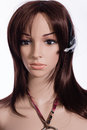 Headset mannequin with brown hair and Royalty Free Stock Images