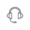 Headset, support line icon, outline vector sign, linear style pictogram isolated on white Royalty Free Stock Photo