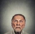 Headshot elderly man looking up Royalty Free Stock Photo