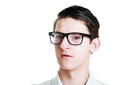 Headshot young man portrait of a handsome with glasses Stock Images