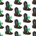 Headstone and zombie hand pattern