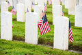 Headstones american flags veterans cemetery white marble and at arlington of the west memorial in seattle washington Royalty Free Stock Photos