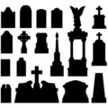 Headstones and gravestones in vector Stock Photos