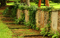 Headstones on wall in fort canning cemetery singapore Stock Photography