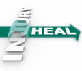 Heal after an injury arrow over word recuperation the on jumping the illustrating the and renewal of engaging in therapy in a Stock Photo
