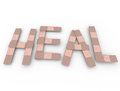 Heal word bandage words treat injury help in bandages to illustrate health care healing an and treatment for a traumatic illness Stock Image