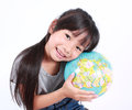 Heal the world young asian girl holding earth globe Royalty Free Stock Photography