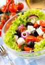 Healhy salad selective focus in the middle of with vegetables and feta cheese Royalty Free Stock Image