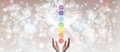 Healing Hands and seven chakras Royalty Free Stock Photo