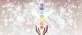 Healing Hands and seven chakras Royalty Free Stock Photo