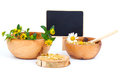 Healing herbs wooden bowl alternative medicine concept Royalty Free Stock Image