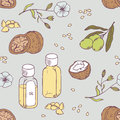 Healing oils seamless pattern. Healthy background Royalty Free Stock Photo