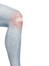 Healing plaster on knee. Stock Image