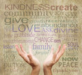 Healing words and hands on rustic parchment Royalty Free Stock Photo