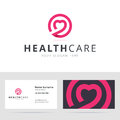 Healt care logo and business card template for dating club logotype for clinic medical center fitness Royalty Free Stock Image