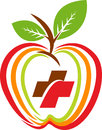 Health apple logo illustration art of a with isolated background Royalty Free Stock Image