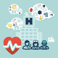 Health background flat design illustration about care with medical icons Royalty Free Stock Photos
