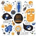 Health benefits of probiotics. Hand drawn infographic poster. Vector. Doodles.
