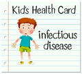 Health card with boy having infectious disease illustration Royalty Free Stock Images