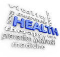 Health care collage words medicine background the word surrounded by a of related to healthcare such as fitness therapy prevention Royalty Free Stock Image