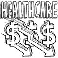 Health care costs increasing sketch Stock Photos