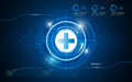 Health care digital texture circle pattern with interactive button background Royalty Free Stock Photo