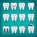 Health care flat style cartoon cute tooth character with differe